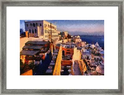 Fira City During Sunset Framed Print