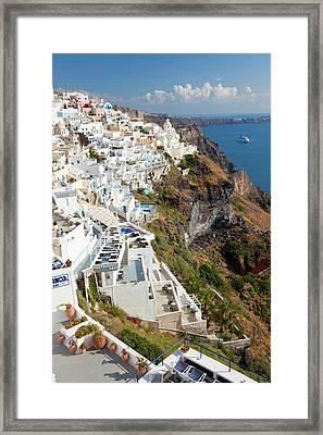 Fira, Santorini (thira Framed Print by Peter Adams