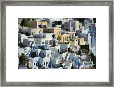 Fira Town Framed Print by George Atsametakis