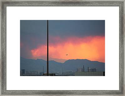 Fire Above Vegas Framed Print