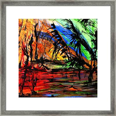 Framed Print featuring the painting Fire And Flood by Helen Syron