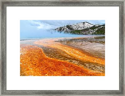 Fire And Ice - Grand Prismatic Spring On A Cloudy Day. Framed Print by Jamie Pham