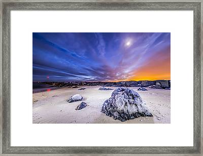 Fire And Ice Shinnecock Inlet Framed Print by Ryan Moore