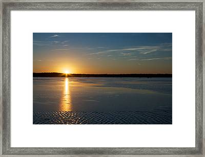 Fire And Ice - Sunset On An Icy Lake Framed Print