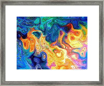 Framed Print featuring the digital art Fire And Water Abstract Art by Annie Zeno