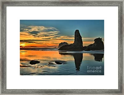 Fire At Low Tide Framed Print by Adam Jewell