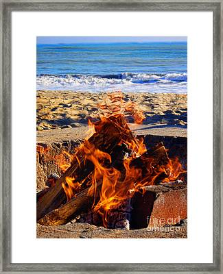 Fire At The Beach Framed Print