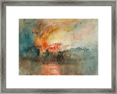 Fire At The Grand Storehouse Of The Tower Of London Framed Print