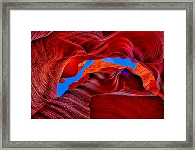 Framed Print featuring the photograph Fire Beneath The Sky In Antelope Canyon by Greg Norrell