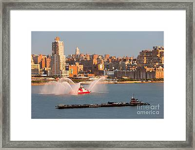 Fire Boat And Manhattan Skyline V Framed Print by Clarence Holmes