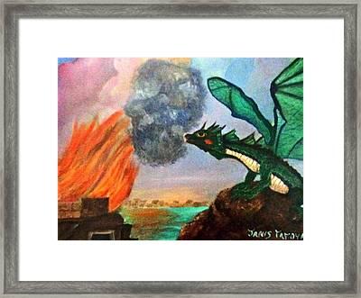 Fire Breathing Dragon Framed Print by Janis  Tafoya
