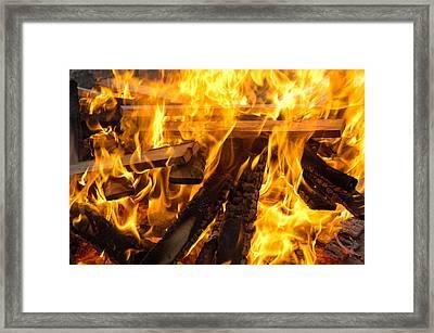 Fire - Burning Wood Framed Print by Matthias Hauser