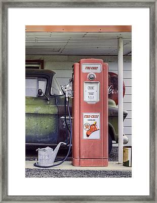 Fire Chief - Gas Pump - Retro Framed Print