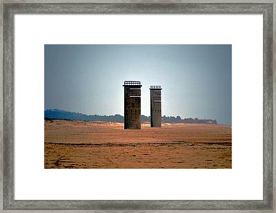 Fct5 And Fct6 Fire Control Towers On The Beach Framed Print