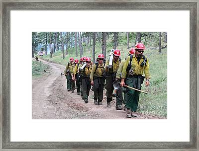 Fire Crew Walks To Their Assignment On Myrtle Fire Framed Print