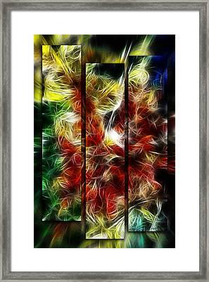 Framed Print featuring the digital art Fire Dancers Triptych by Selke Boris