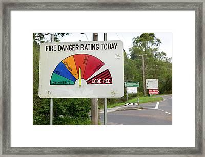 Fire Danger Rating Road Sign Framed Print by Dr Jeremy Burgess