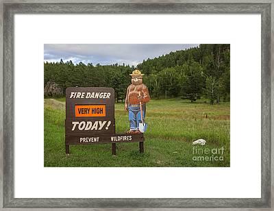 Framed Print featuring the photograph Fire Danger Sign  by Bryan Mullennix