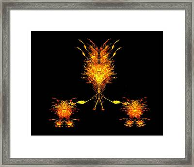 Framed Print featuring the digital art Fire Dude Walking His Fire Dogs by R Thomas Brass