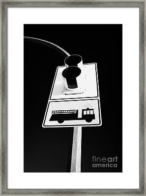 fire engine stop sign and signal Saskatoon Saskatchewan Canada Framed Print
