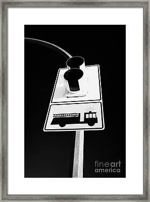 fire engine stop sign and signal Saskatoon Saskatchewan Canada Framed Print by Joe Fox
