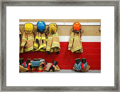 Fire Equipment At Rest Framed Print by James Kirkikis