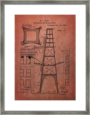 Fire Escape And Water Tower Patent Fireman Framed Print by Dan Sproul