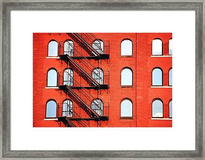 Fire Escape Of Red Building Framed Print by Travis Chambers / Eyeem