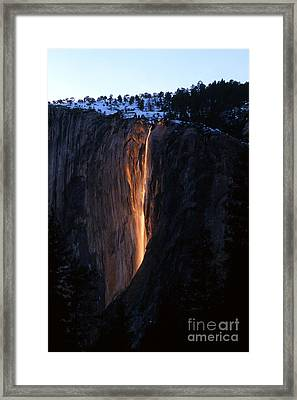 Fire Falls In Yosemite  Framed Print