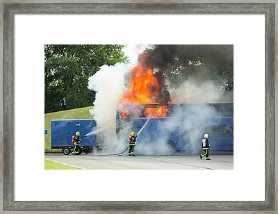 Fire Fighters Tackle A Coach Blaze Framed Print