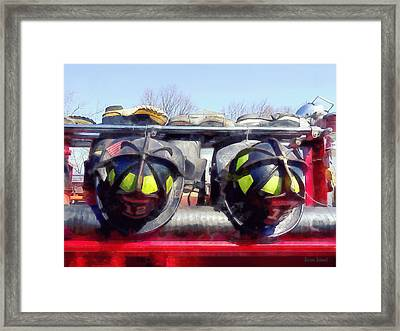 Fire Helmet And Boots Framed Print by Susan Savad