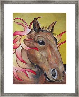 Fire Horse Framed Print by Leslie Manley