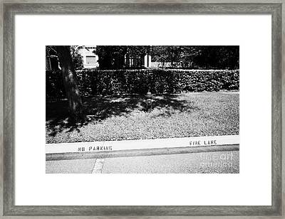 Fire Hydrant No Parking Fire Lane Curb In Residential Area Of Celebration Florida Us Framed Print by Joe Fox