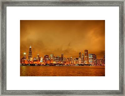 Fire In A Chicago Night Sky Framed Print