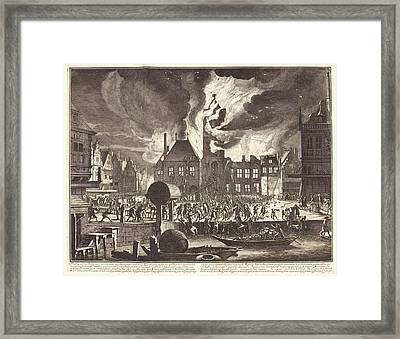 Fire In Amsterdam Framed Print by Manuscripts And Archives Division/new York Public Library