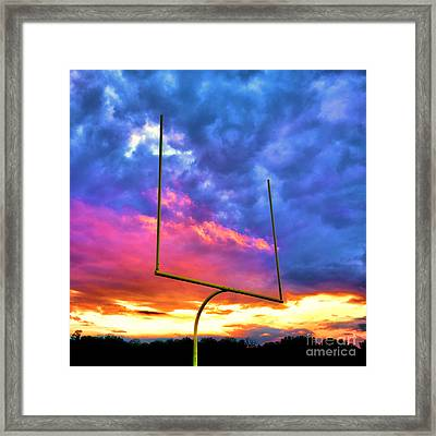 Fire In The Goal Framed Print by Olivier Le Queinec