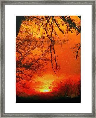 Fire In The Sky Framed Print by Jeffrey Kolker