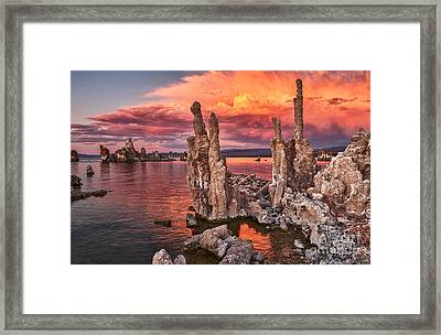 Fire In The Sky - Sunset View Of The Strange Tufa Towers Of Mono Lake. Framed Print