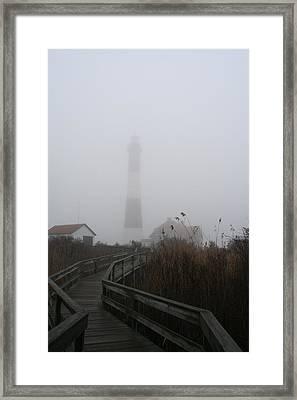 Fire Island Lighthouse In Fog Framed Print by Karen Silvestri