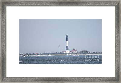 Fire Island Lighthouse With Boats Wading In Front Of It #1 Of 4 Framed Print by John Telfer
