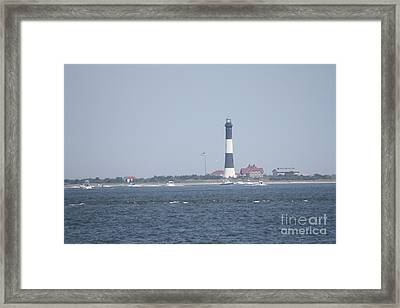 Fire Island Lighthouse With Signal Light Showing And Boats Wading #4 Of 4 Framed Print by John Telfer