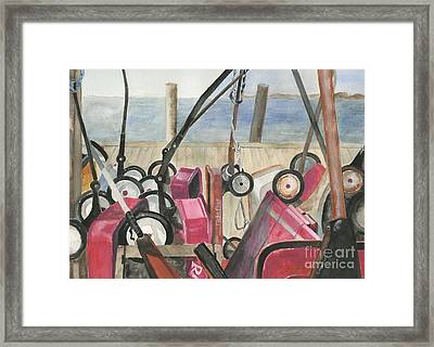Fire Island Wagon Parking Framed Print by Sheryl Heatherly Hawkins