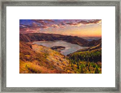 Fire Lake At Sunset Framed Print