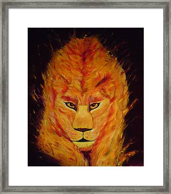 Framed Print featuring the painting Fire Lioness by Persephone Artworks