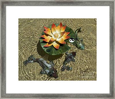 Framed Print featuring the sculpture Fire Lotus With Dragon Koi by Suzette Kallen