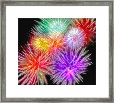 Fire Mums - Fireworks Collage 2 Framed Print by Steve Ohlsen