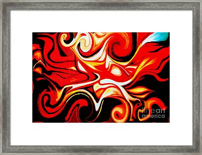 Fire Of Love - Abstract Oil Painting Original Modern Contemporary Art House Wall Deco Framed Print by Emma Lambert