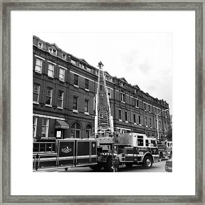 Framed Print featuring the photograph Fire On Preston Street by Toni Martsoukos