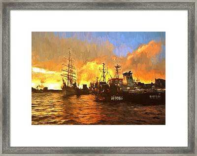 Fire On The Harbor Framed Print by Georgiana Romanovna