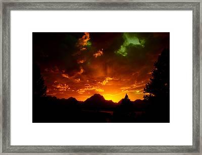 Fire On The Mountain - Grand Teton National Park Framed Print